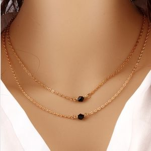 Jewelry - Double Strand Gold Black Good Luck  Necklace